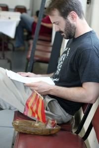 "Joe working with his ""Metamorphoses"" script; he will play Hamlet at Georgia Shakespeare in the fall."