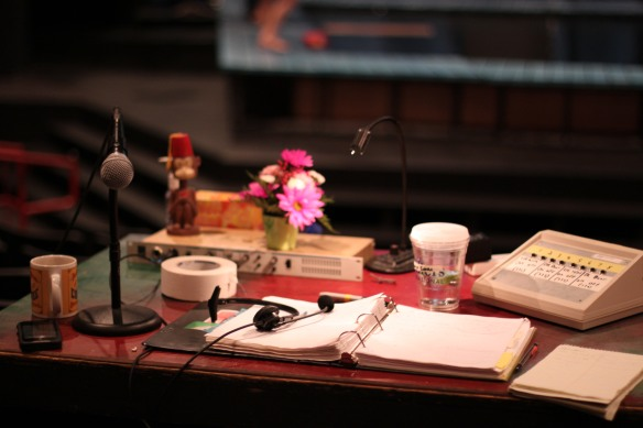 Command Central:  our stage manager's desk in the theater