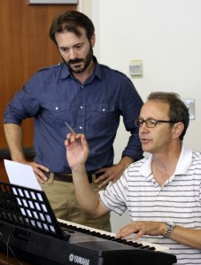 Joe Knezevich and Kendall Simpson rehearsing a vocal piece