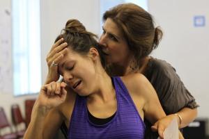 Aphrodite (Tess Kincaid, right) seizes Myrrha (Ann Marie Gideon)
