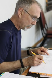 Robert Schultz, a frequent GS stage manager, in rehearsal