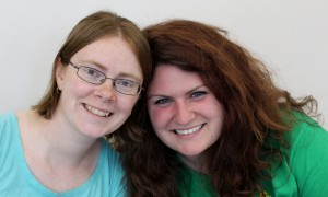 "Katie and Laura, the amazing stage management team of ""Mighty Myths and Legends"""