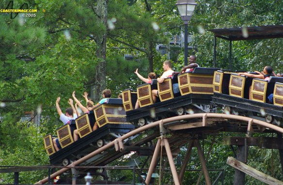 The Dahlonega Mine Train at Six Flags over Georgia. Photo c. 2005, coasterimage.com